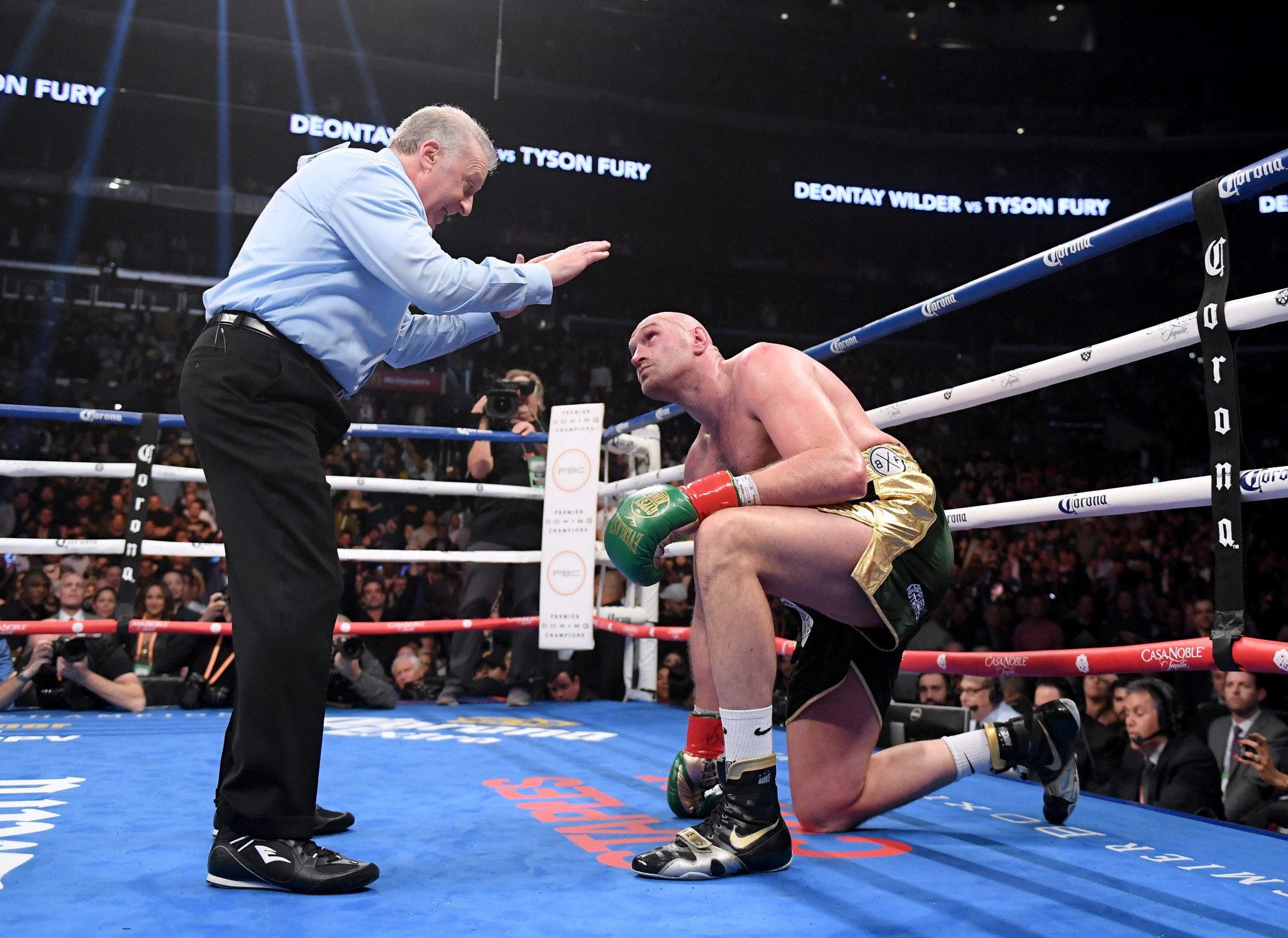 Tyson Fury twice climbed off the canvas during a fight where he was largely seen as the stronger boxer ©Getty Images