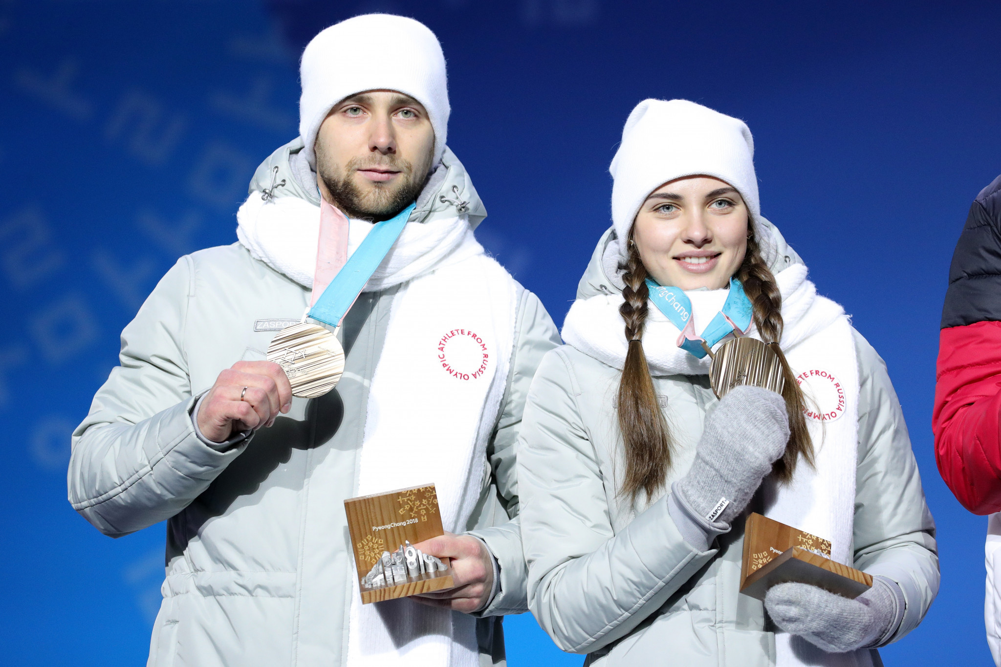 Aleksandr Krushelnitckii and his wife Anastasia Bryzgalova were stripped of their bronze medal following his positive test ©Getty Images