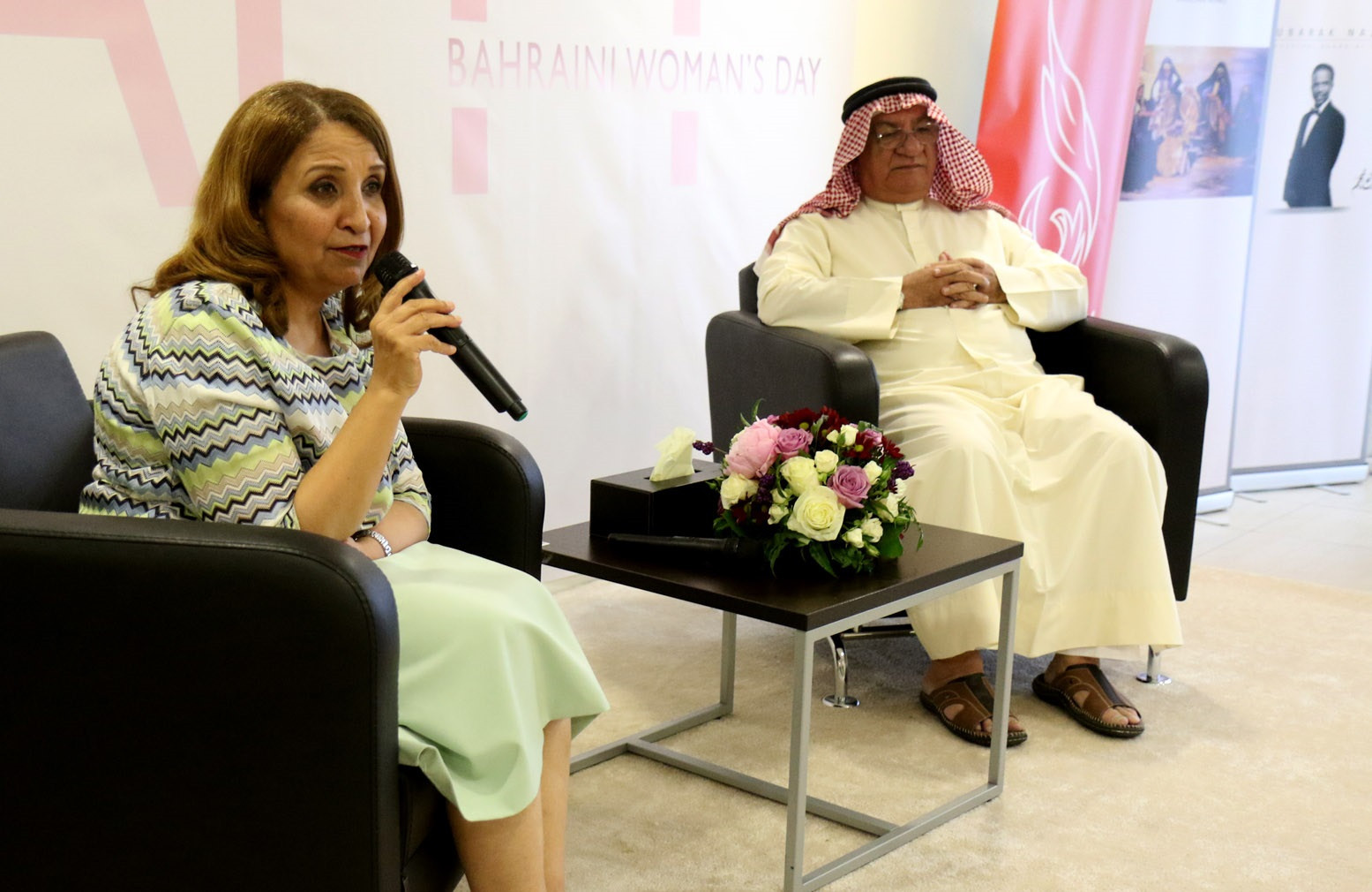 Bahrain Women's Sport Committee chair Shaikha Hayat bint Abdulaziz Al Khalifa, left, was the patron of the event ©BOC
