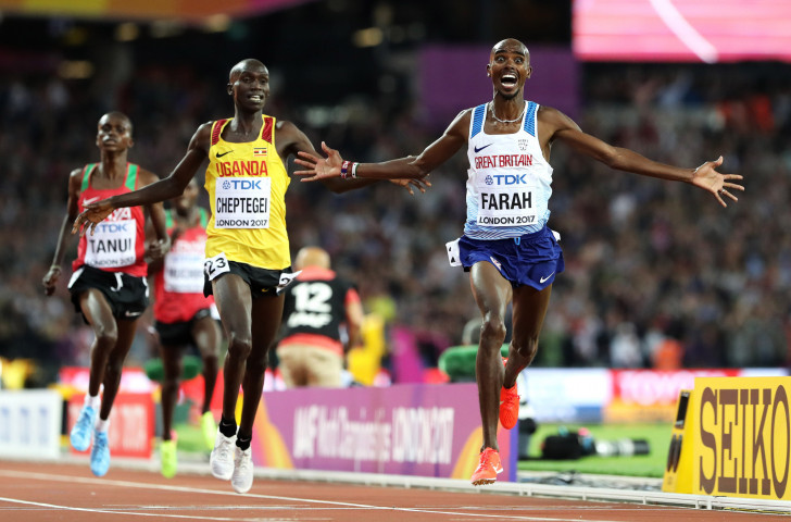 Britain's Mo Farah takes his final world gold over 10,000m in London last year - numbers of entrants will be limited at next year's IAAF World Championships in Doha ©Getty Images