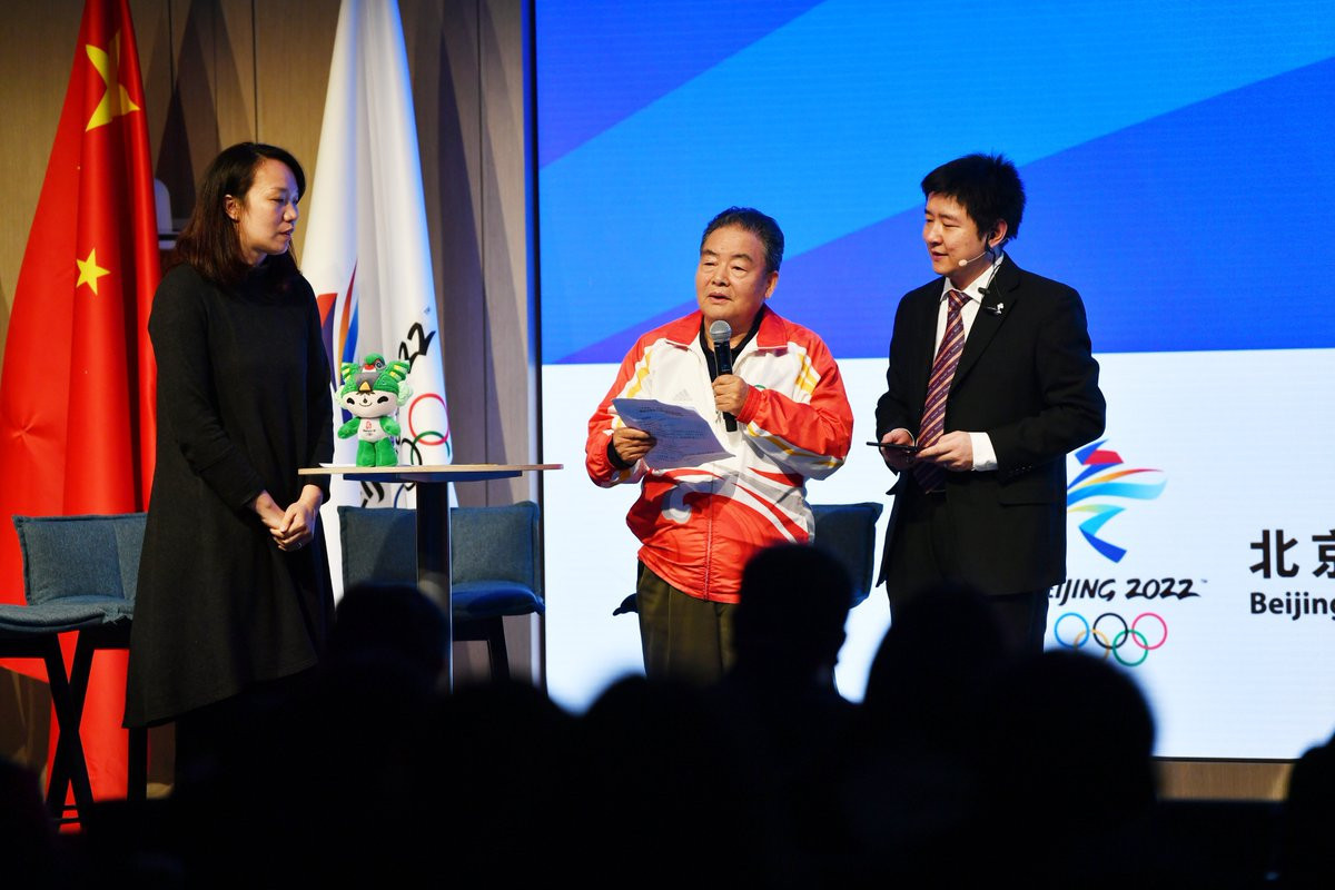 China's two-time Olympic gold medal-winning taekwondo player Chen Zhong, left, was among those present at the event ©Beijing 2022/Twitter