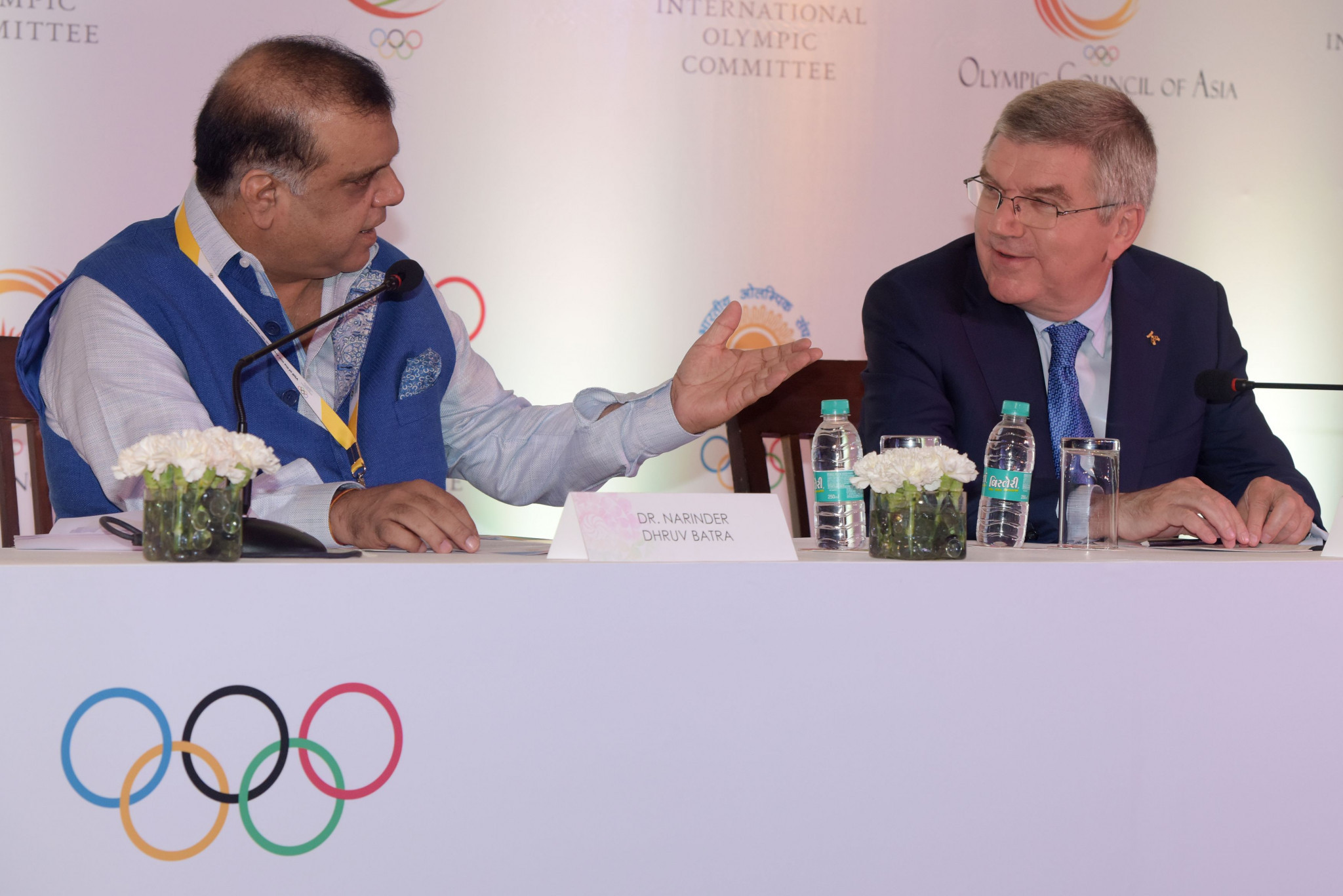 IOA President Narinder Batra participated in a joint press conference with IOC counterpart Thomas Bach during the German's visit to India in April ©Getty Images