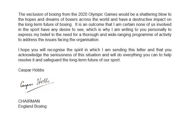 England Boxing chairman Caspar Hobbs has personally written to AIBA President Gafur Rakhimov ©ITG