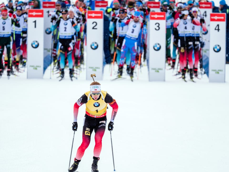 Norway's Johannes Thingnes Bø sets off before what would prove to be a dramatic victory in the men's 12.5km pursuit event on the last day of the Biathlon World Cup in Pokljuka for his second gold medal of the event ©IBU
