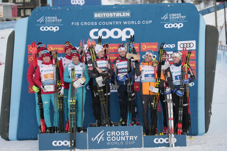 The Norwegian men's relay team of Emil Iversen, Martin Johnsrud Sundby, Sjur Roethe and Finn Haagen Krogh beat Russia and a second Norwegian team to win gold at the FIS Cross-Country World Cup in Beitostølen ©FIS