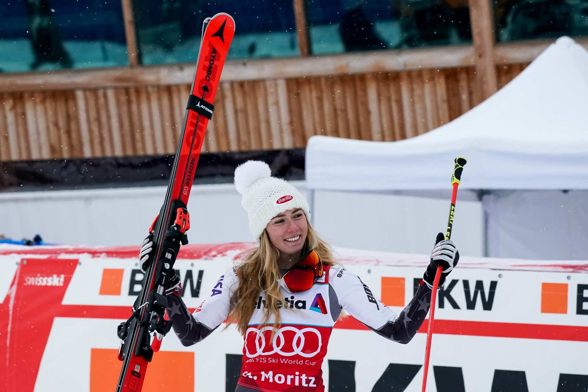 Mikaela Shiffrin claimed victory yet again today in the parallel slalom at the FIS Alpine Ski World Cup event in St Moritz ©Getty Images