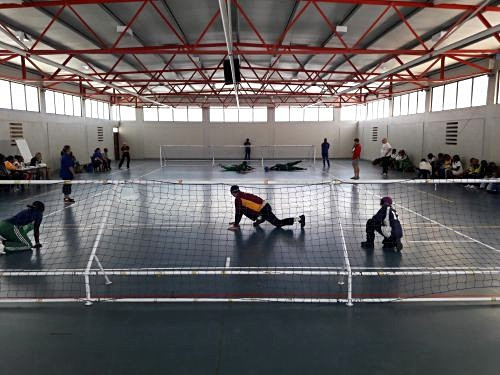 The participants of the IBSA goalball workshop in the South Africa had the chance to apply their new skills at a tournament between six teams ©IBSA