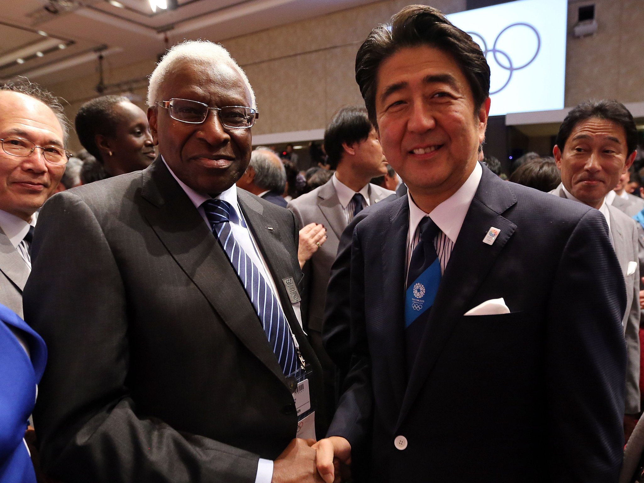 Lamine Diack, pictured with Japanese Prime Minister Shinzō Abe, is accused of trying to influence the vote in 2013 so that Tokyo won its bid to host the 2020 Olympic and Paralympic Games ©Getty Images