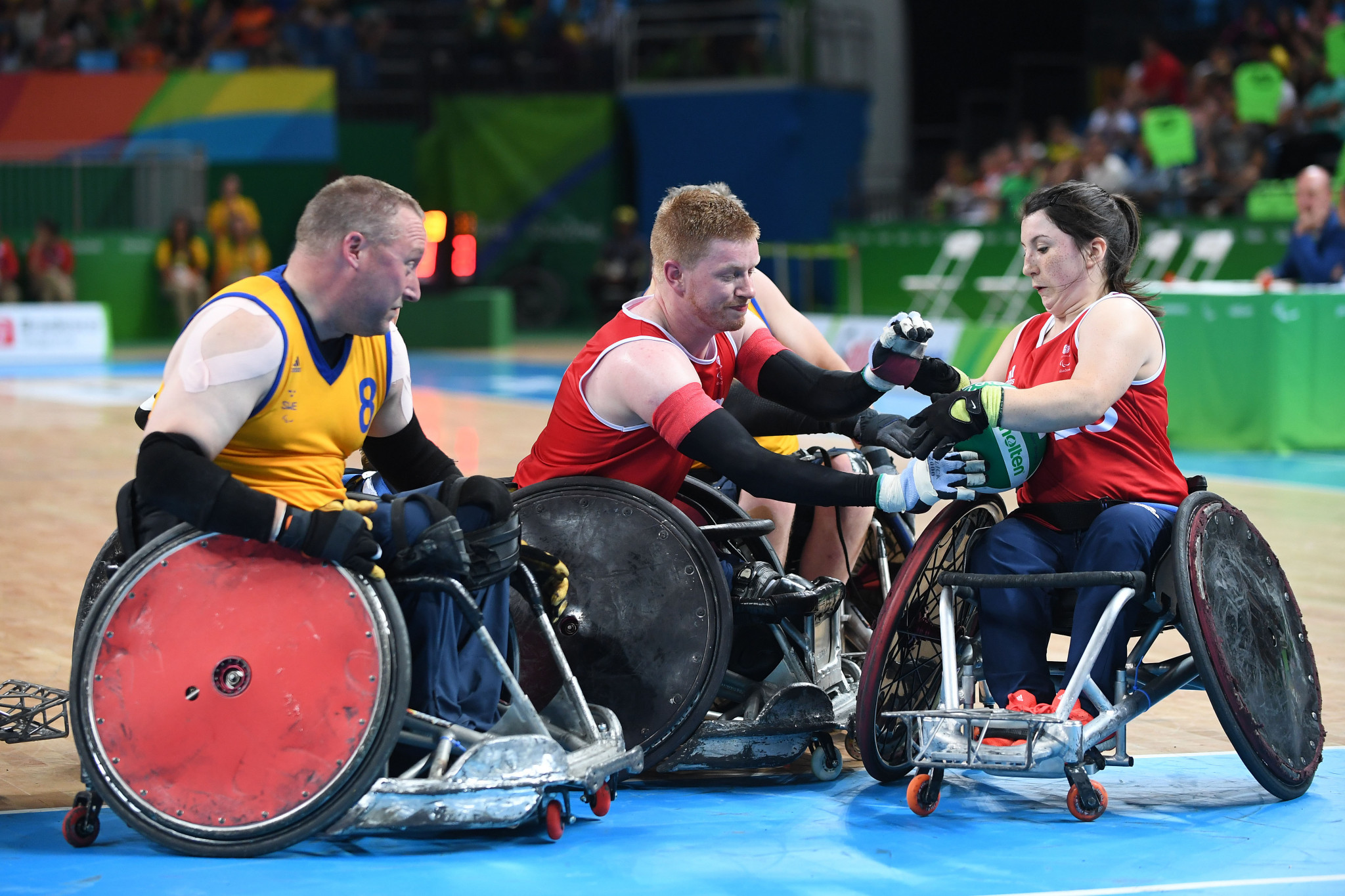 Britain's wheelchair rugby team, pictured at the Rio 2016 Paralympics, will receive £500,000 as part of a new UK Sport Aspiration Fund ©Getty Images