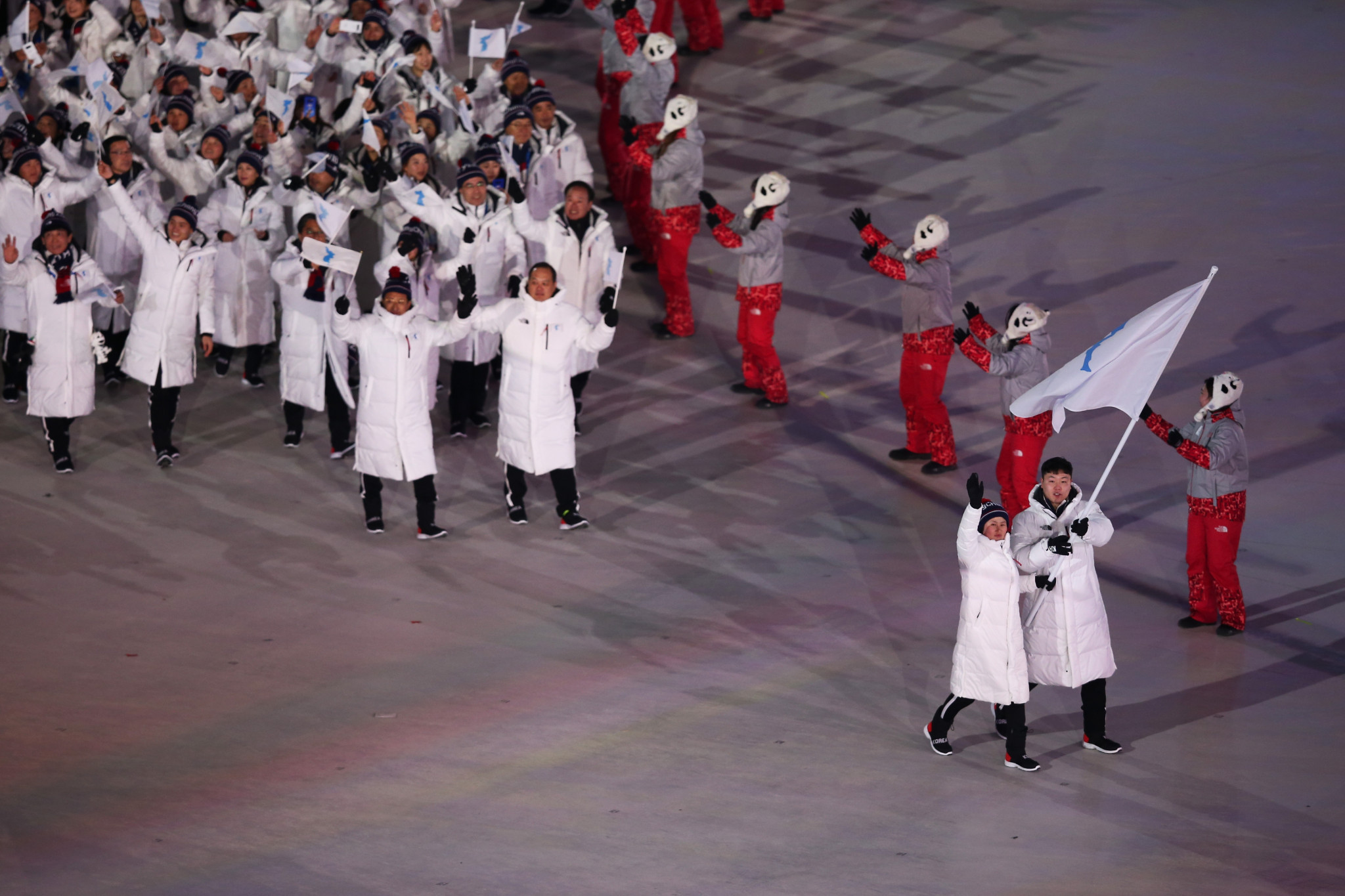 The two Koreas marched in together at the Opening Ceremony of the Pyeongchang Winter Olympics in February ©Getty Images