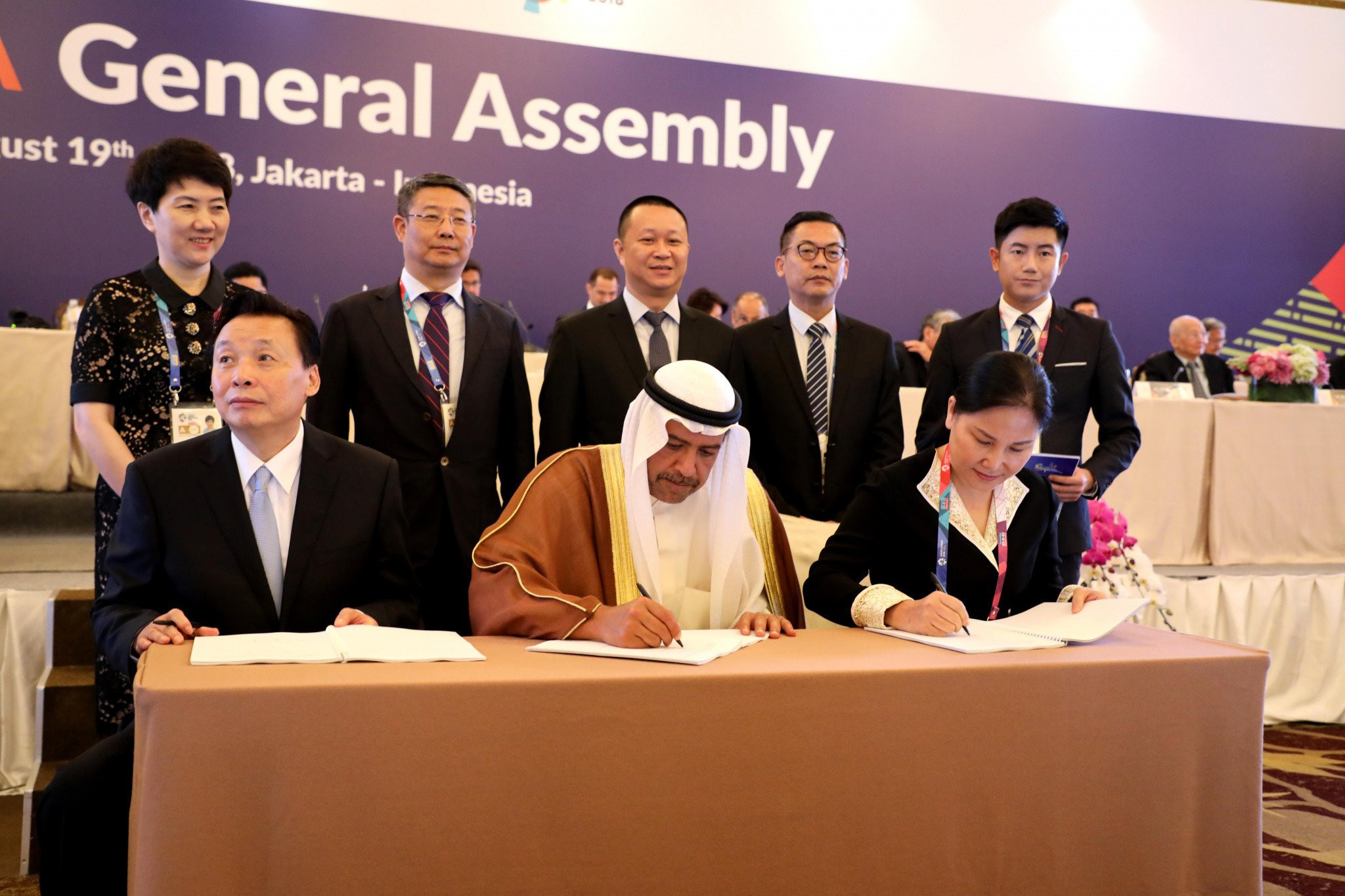 The Host City Contract for the 2020 Asian Beach Games in Sanya was signed at the 2018 OCA General Assembly in Jakarta ©OCA
