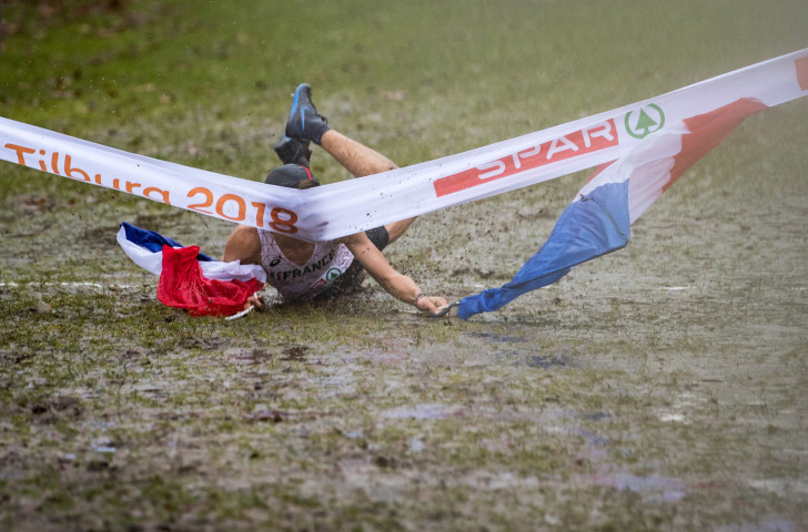 Jimmy Gressier's Good Idea turns bad at the close of last Sunday's men's under-23 race at the European Cross Country Championships in Tilburg ©Getty Images
