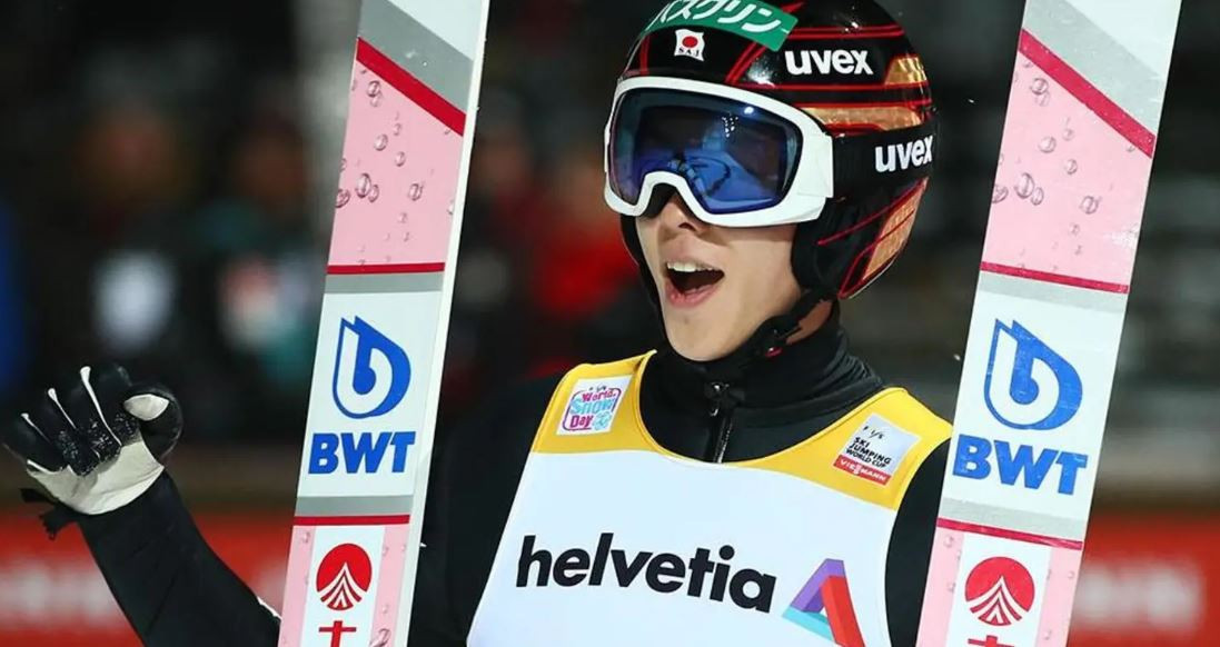Ryoyu Kobayashi of Japan won the first qualification in Engelberg this evening ahead of tomorrow's Ski Jumping World Cup event in Switzerland ©FIS
