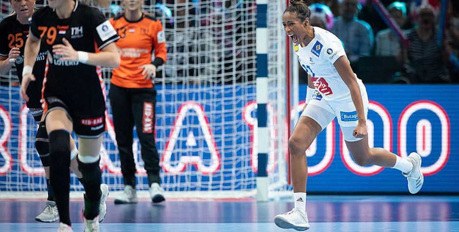 Estelle Nze Minko scored six goals for hosts France as they beat The Netherlands to reach the European Women's Handball Championships final in France ©EHF