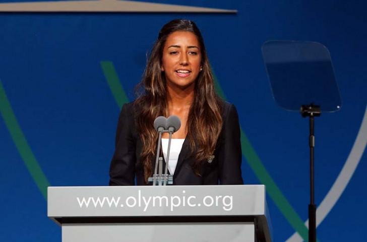 Çağla Büyükakçay spoke during the Istanbul 2020 bid presentation at the 2013 IOC Session