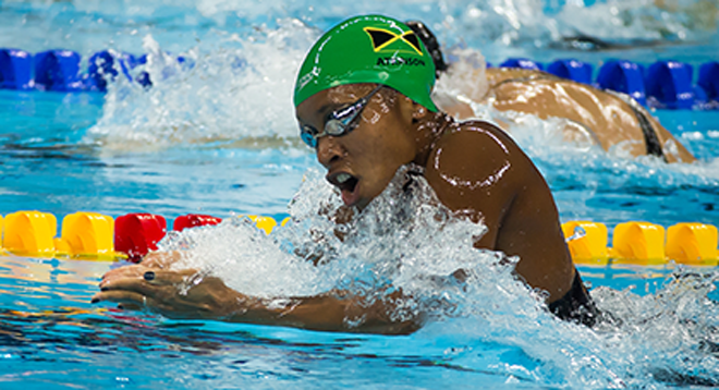 Jamaica's Alia Atkinson won her third gold of the Championships today as the seven golds on offer were evenly shared ©Getty Images