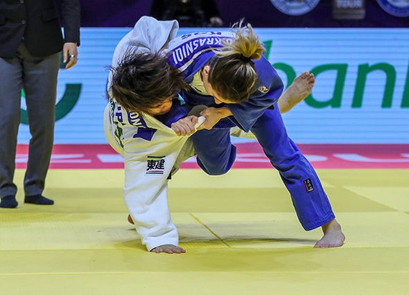 Distria Krasniqi secured gold within 15 seconds of the women's 48kg final ©IJF