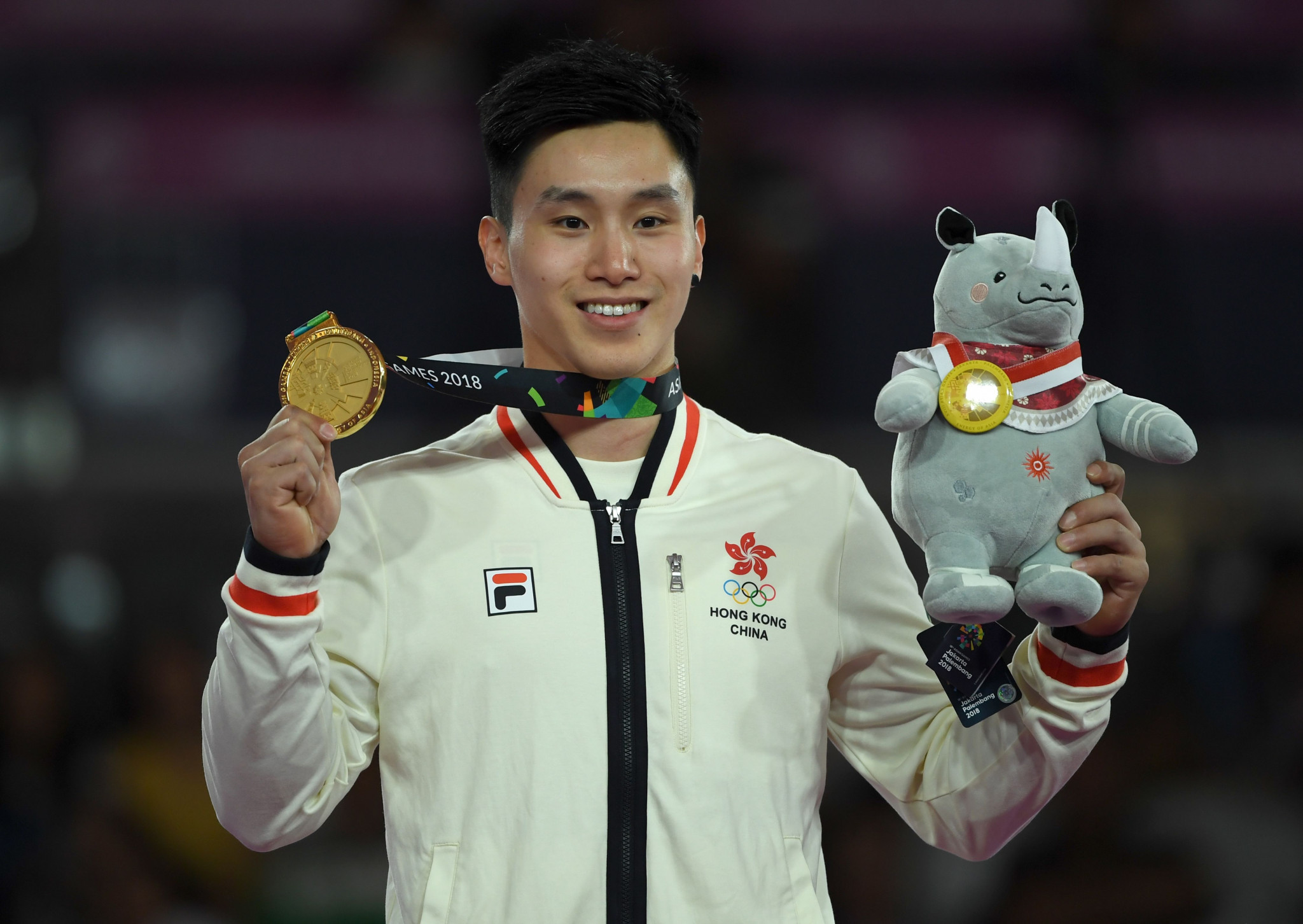 Hong Kong's Asian Games gymnastics gold medallist Shek Wai Hung attended the launch event ©Getty Images