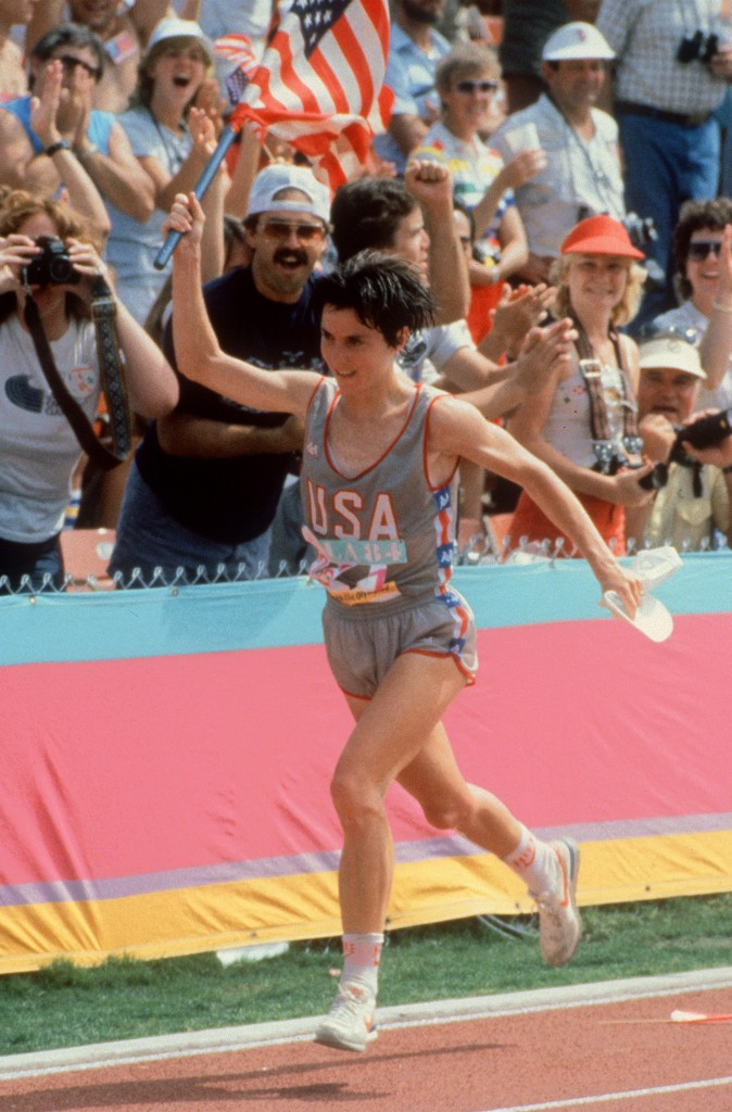 Joan Benoit Samuelson made history by winning the first Olympic women's marathon in Los Angeles in 1984