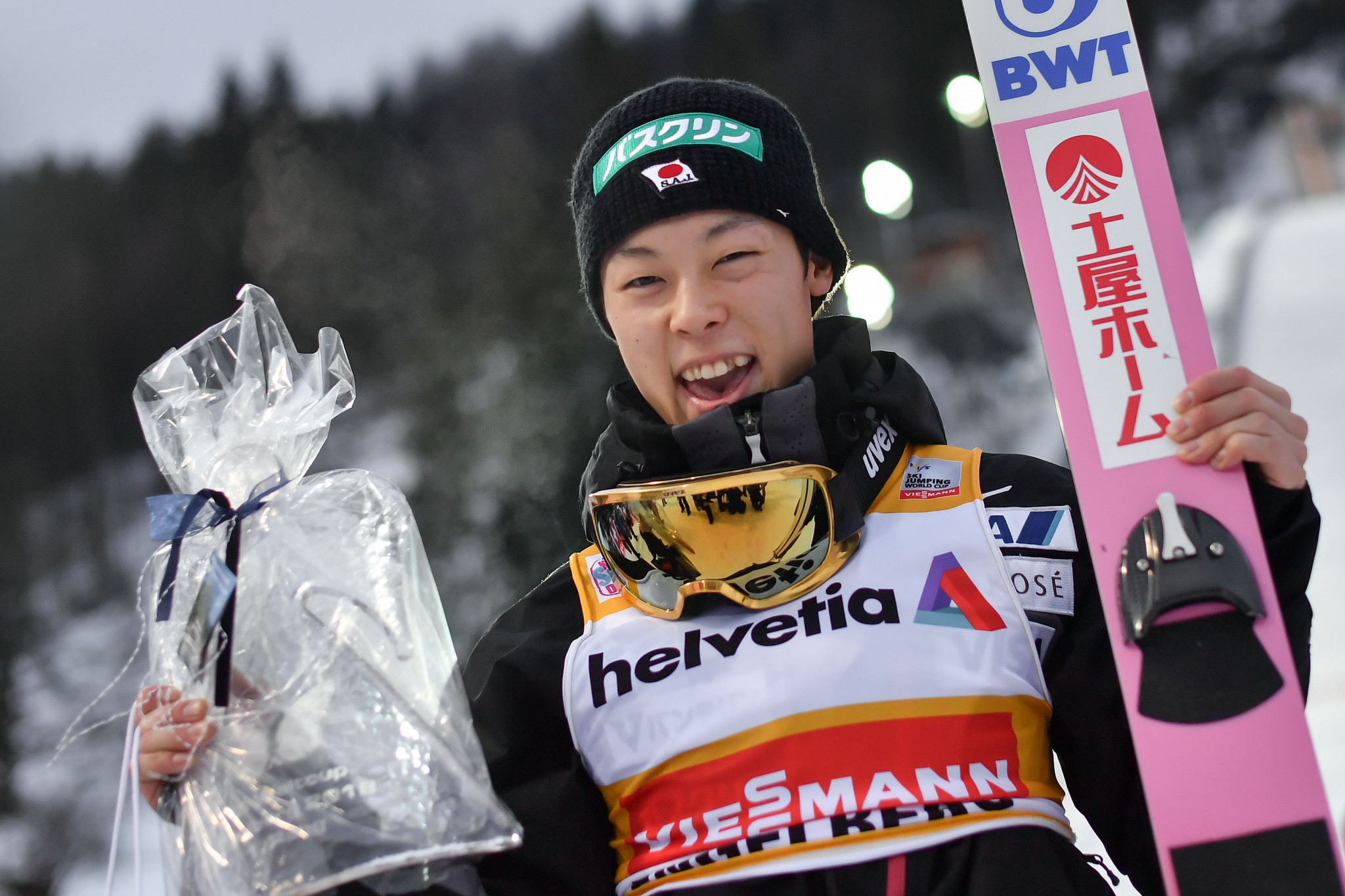 Ryoyu Kobayashi won the Ski-Jumping World Cup competition held today in Engelberg ©Getty Images