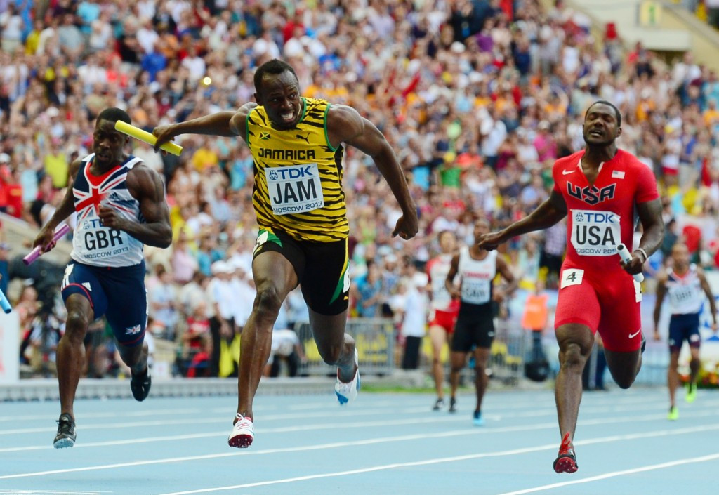 Usain Bolt holds off Justin Galtin (right) to win the world 4x100m title for Jamaica in Moscow two years ago. Both men make their debuts in the IAAF World Relays this weekend, and are likely to compete against each other once again with baton in hand ©Get