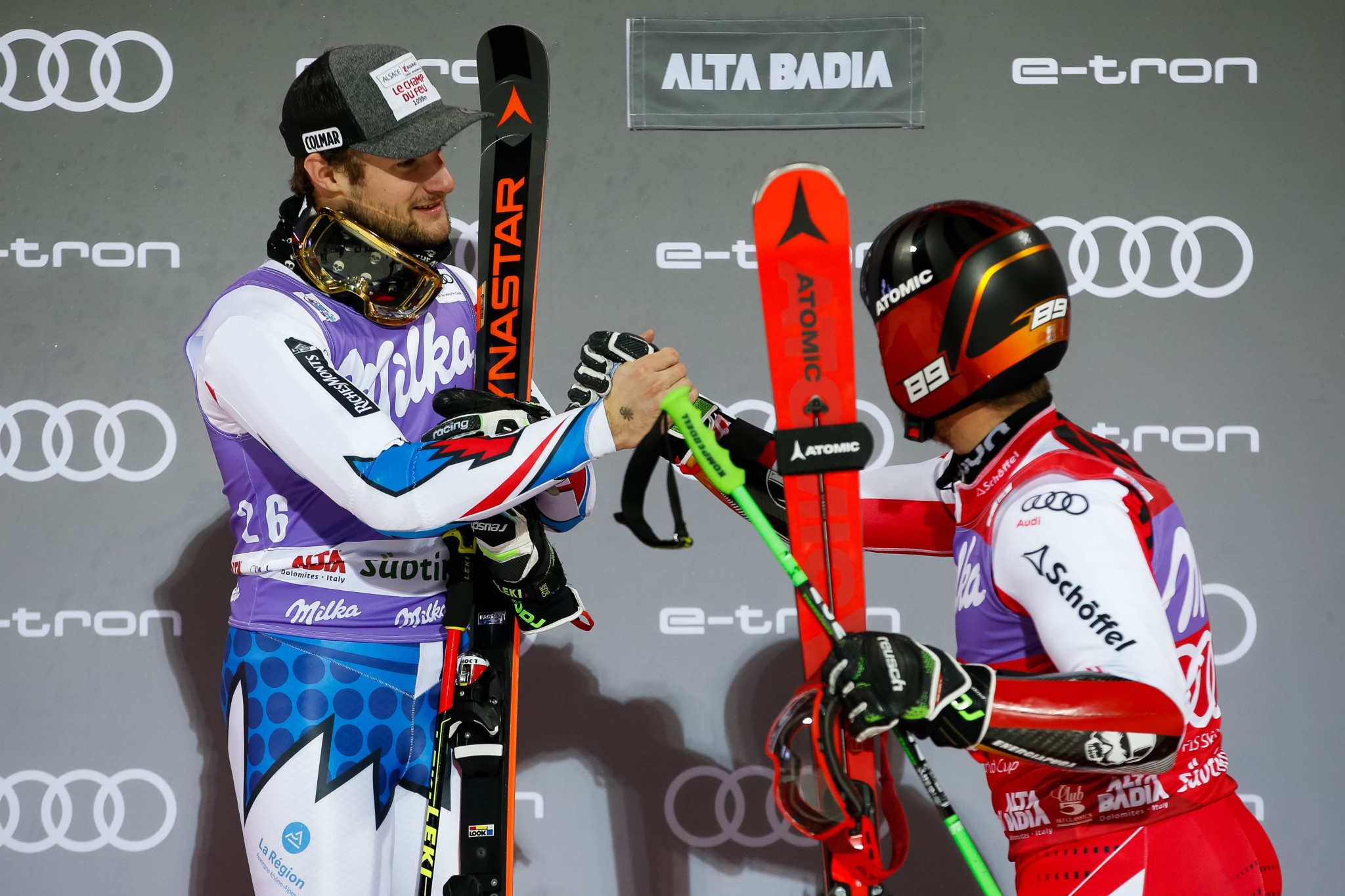 Thibaut Favrot of France was a surprise finalist  alongside Austria's Marcel Hirshcher in the parallel giant slalom event at the FIS Alpine Ski World Cup in Alta Badia ©Getty Images