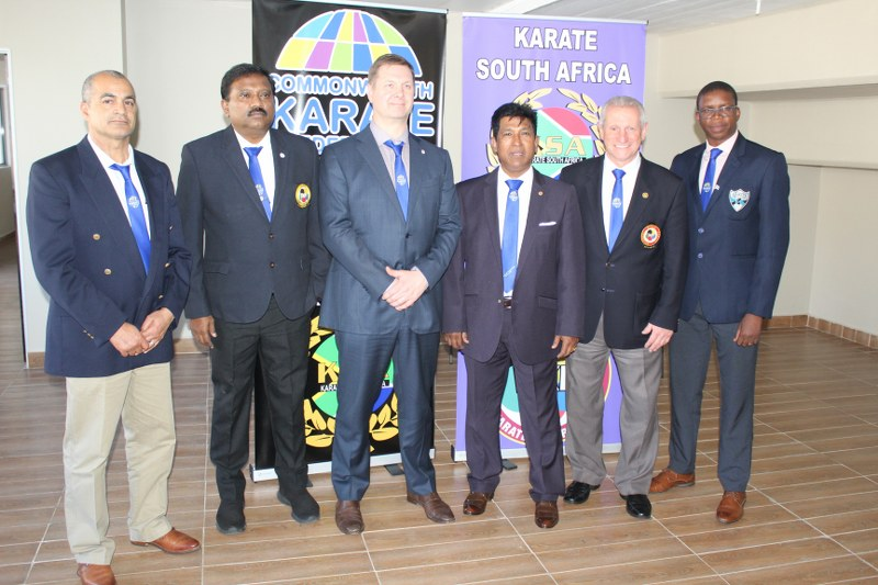 Newly elected Commonwealth Karate Federation President Sonny Pillay, third from right, pictured with his colleagues after the election in Durban  ©CKF
