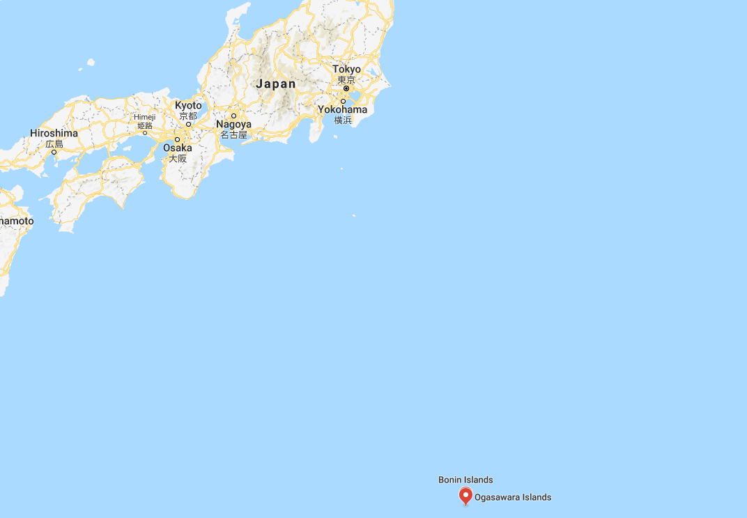 The Ogasawara Islands lie around 1,000 kilometres to the south of Tokyo ©Google Maps