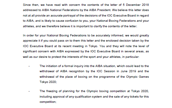The IOC have written to the NOCs to clarify comments made by AIBA President Gafur Rakhimov in a letter to National Federations ©ITG