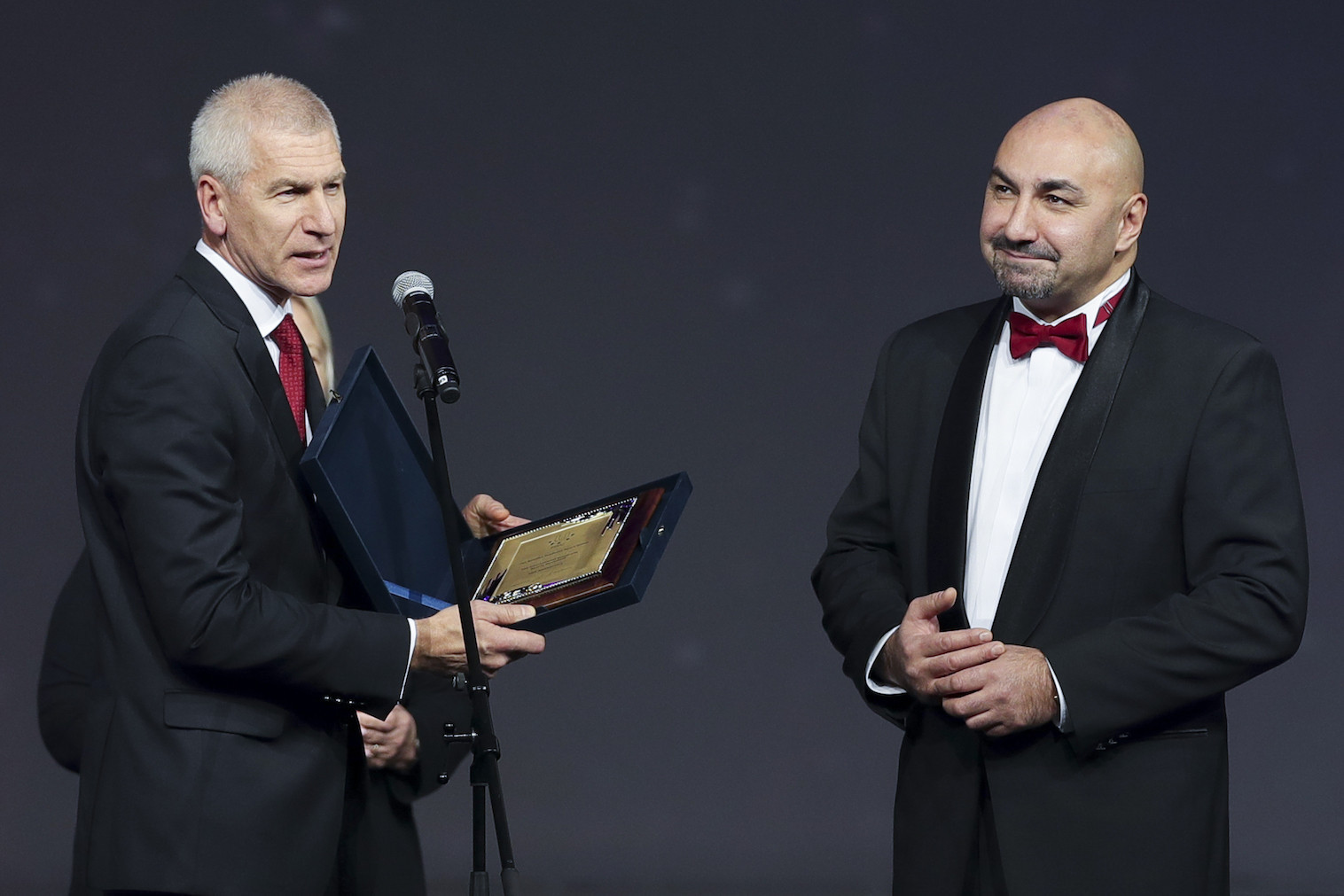 FISU President Oleg Matytsin, left, was among those present at the RSSU Gala in Moscow ©RSSU