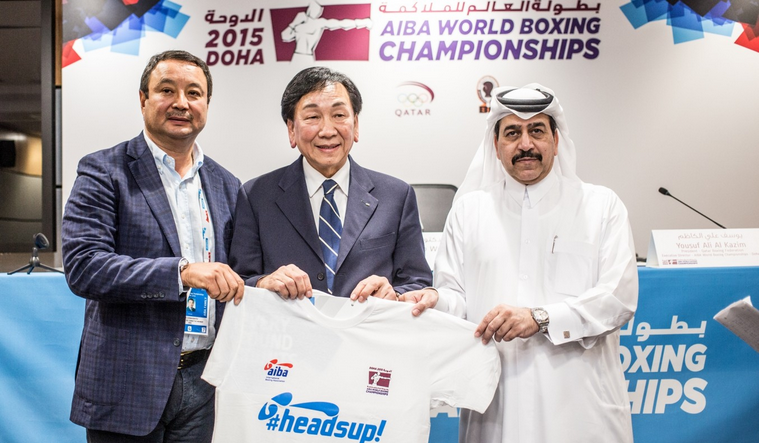 AIBA has launched its HeadsUp! initiative at the 2015 World Boxing Championships ©AIBA