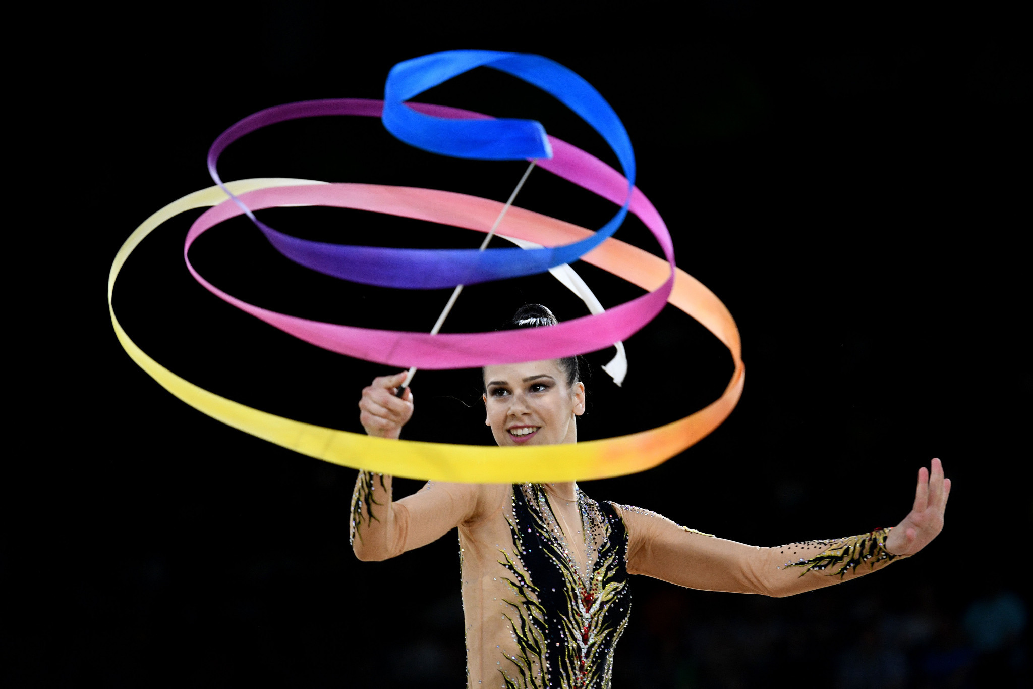 Diamanto Evripidou won four rhythmic gymnastics golds and six medals in all ©Getty Images