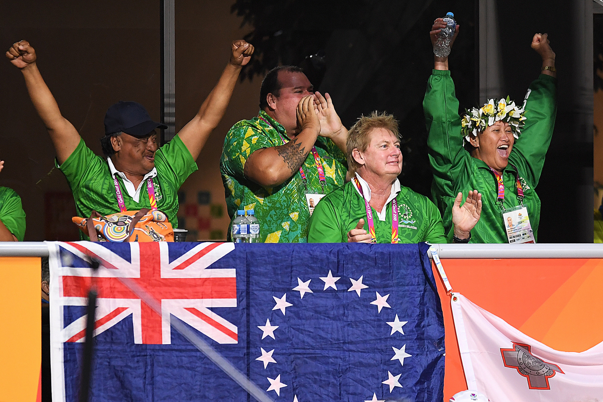 The Cook Islands were among the delegations to celebrate a maiden Commonwealth Games medal ©Getty Images
