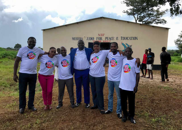 President of the National Olympic Committee of Zambia and President of the Zambian Judo Association Alfred Foloko attended the opening of a new dojo in the Maheba refugee camp ©IJF