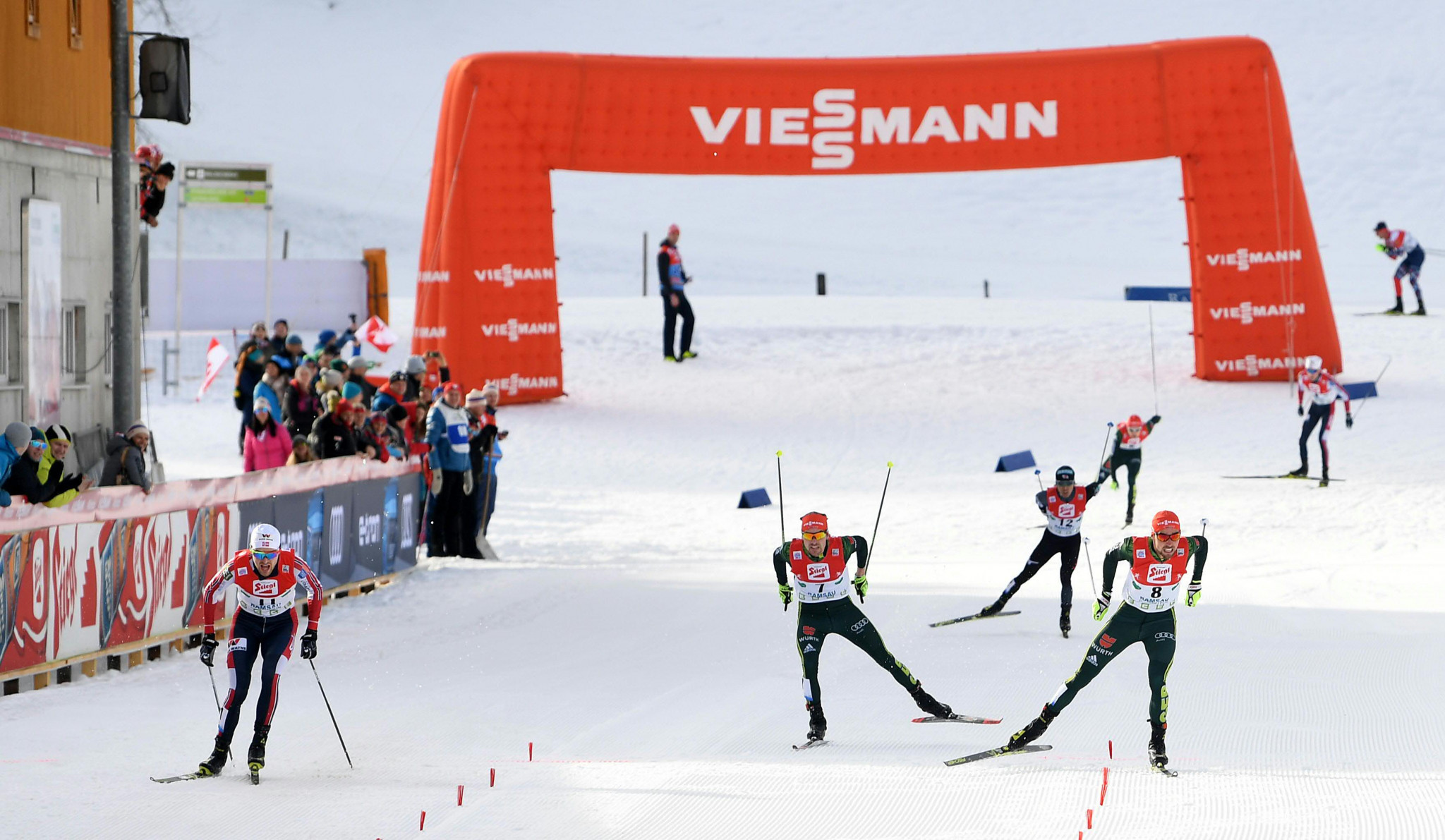 In a tight finish between the top three Jørgen Graabak, left, won by just 0.3 seconds ©Getty Images