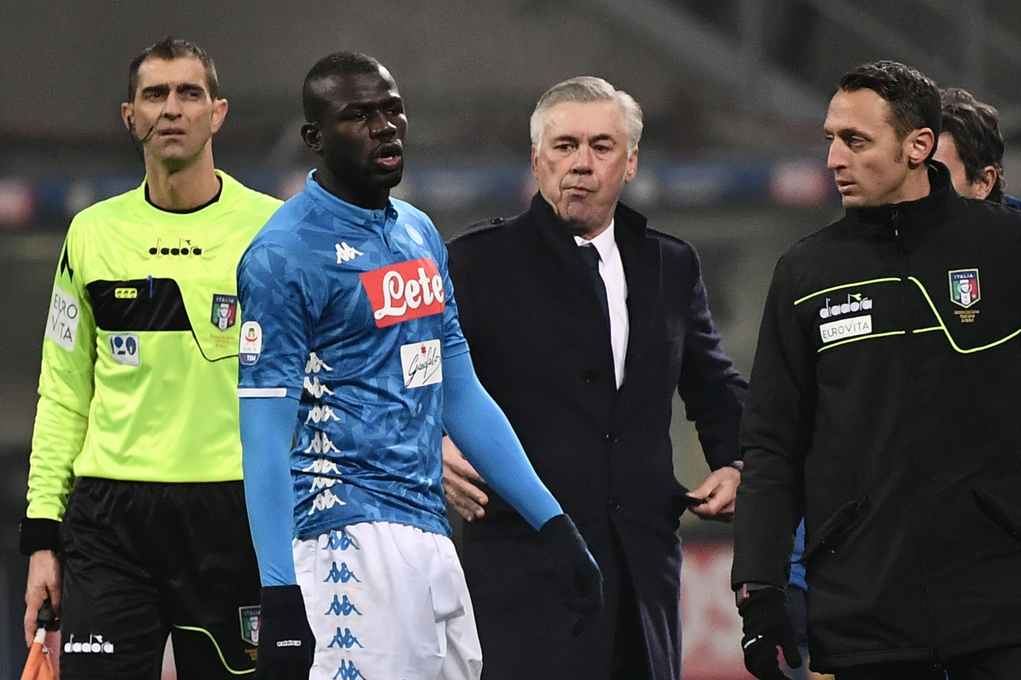 Napoli defender Kalidou Koulibaly of Senegal was sent off during Napoli's clash with Inter Milan, despite allegedly being subject to racist abuse ©Getty Images