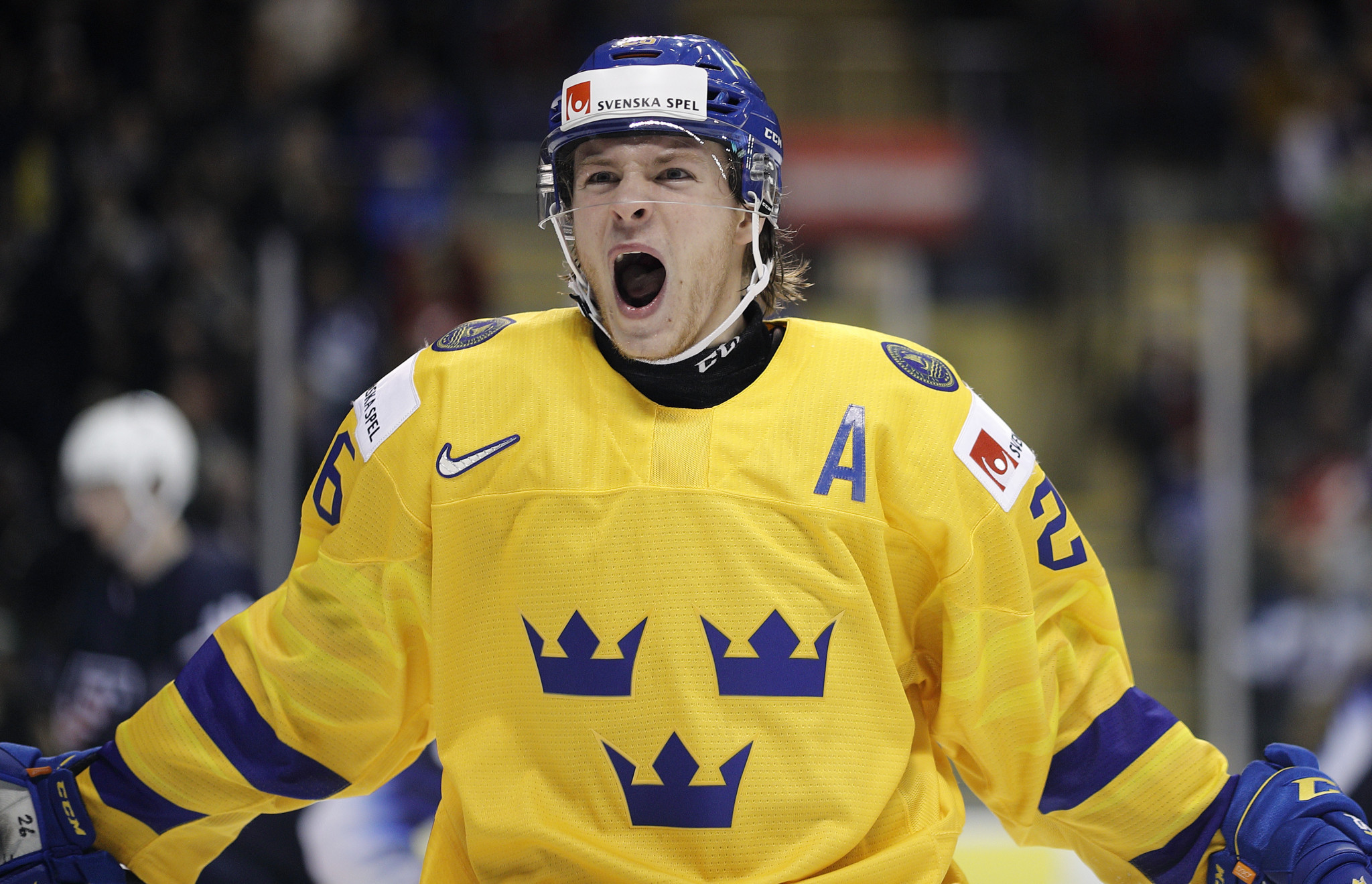 Rickard Hugg celebrates scoring for Sweden against the United States in the IIHF World Junior Championships in Vancouver in a thrilling match the Swedes eventually won 5-4 after squandering a four-goal lead ©Getty Images