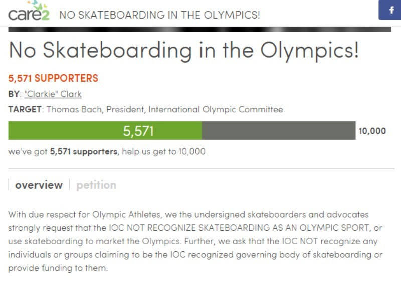 A petition against skateboarding in the Olympics has now been signed by over 5,000 people ©thepetitionsite.com