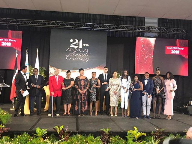 The winners at the Trinidad and Tobago's annual awards ceremony line up with their prizes ©TTOC