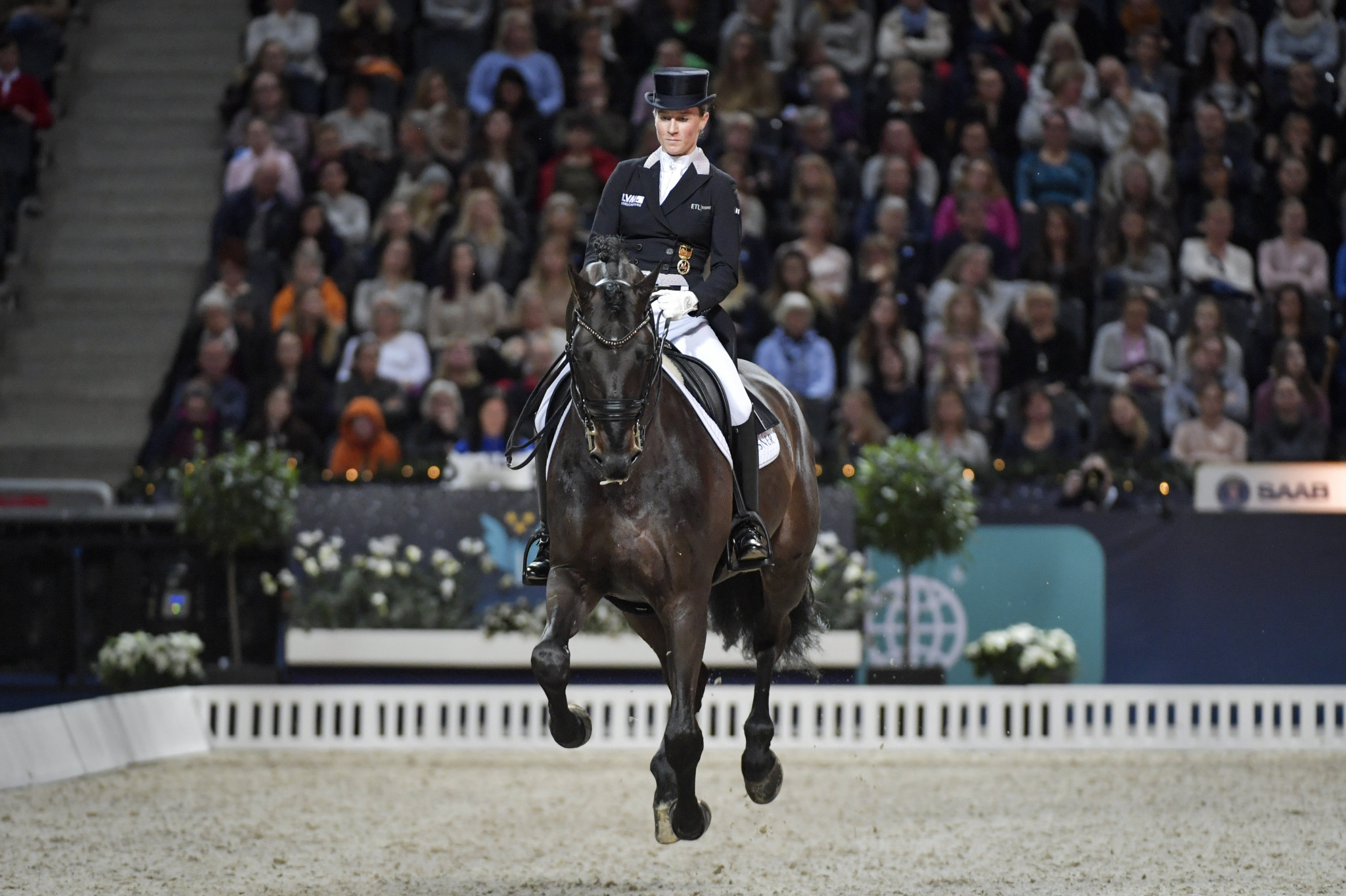 Germany's Helen Langehanenberg and Damsey FRH finished second in the seventh leg of the FEI Dressage World Cup event in Mechelen with 82.880 points ©Getty Images