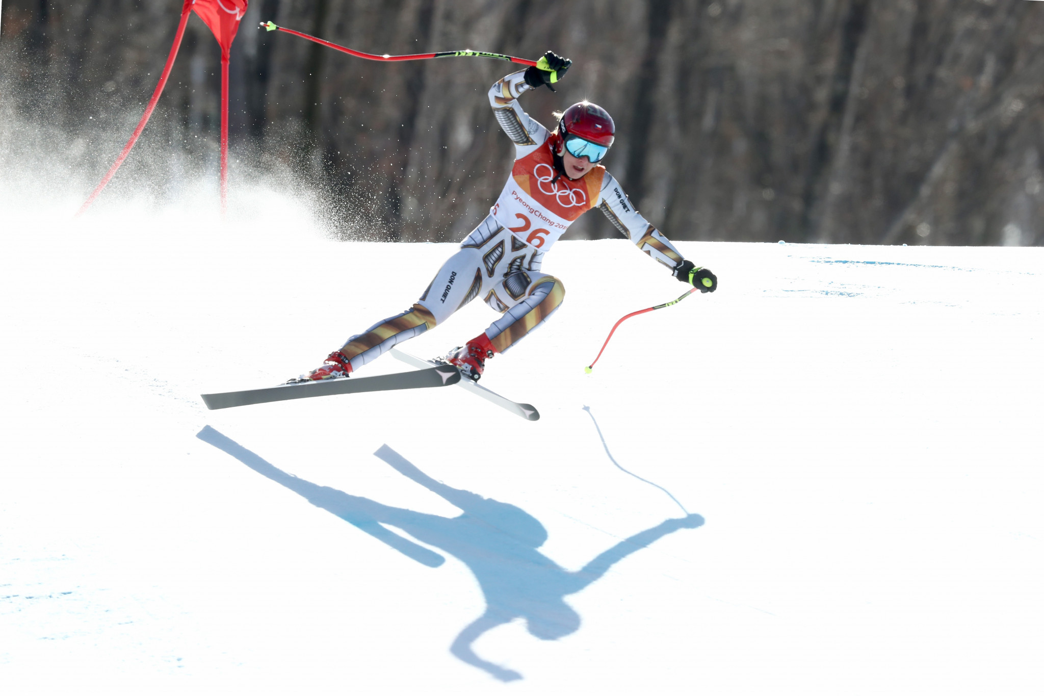 Czech snowboarder Ester Ledecká winning the Alpine skiing super-G event at Pyeongchang 2018 was one of the all-time Winter Olympic shocks ©Getty Images