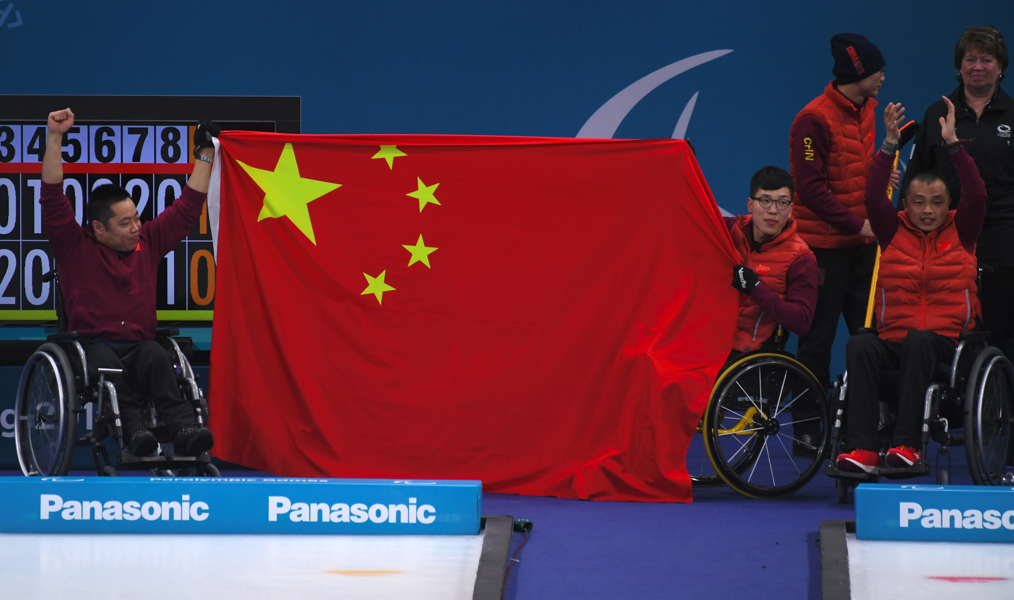 China's wheelchair curling team celebrate their gold at Pyeongchang 2018 - the country's first ever medal at the Winter Paralympic Games having made their debut at Salt Lake City 2002 ©Getty Images
