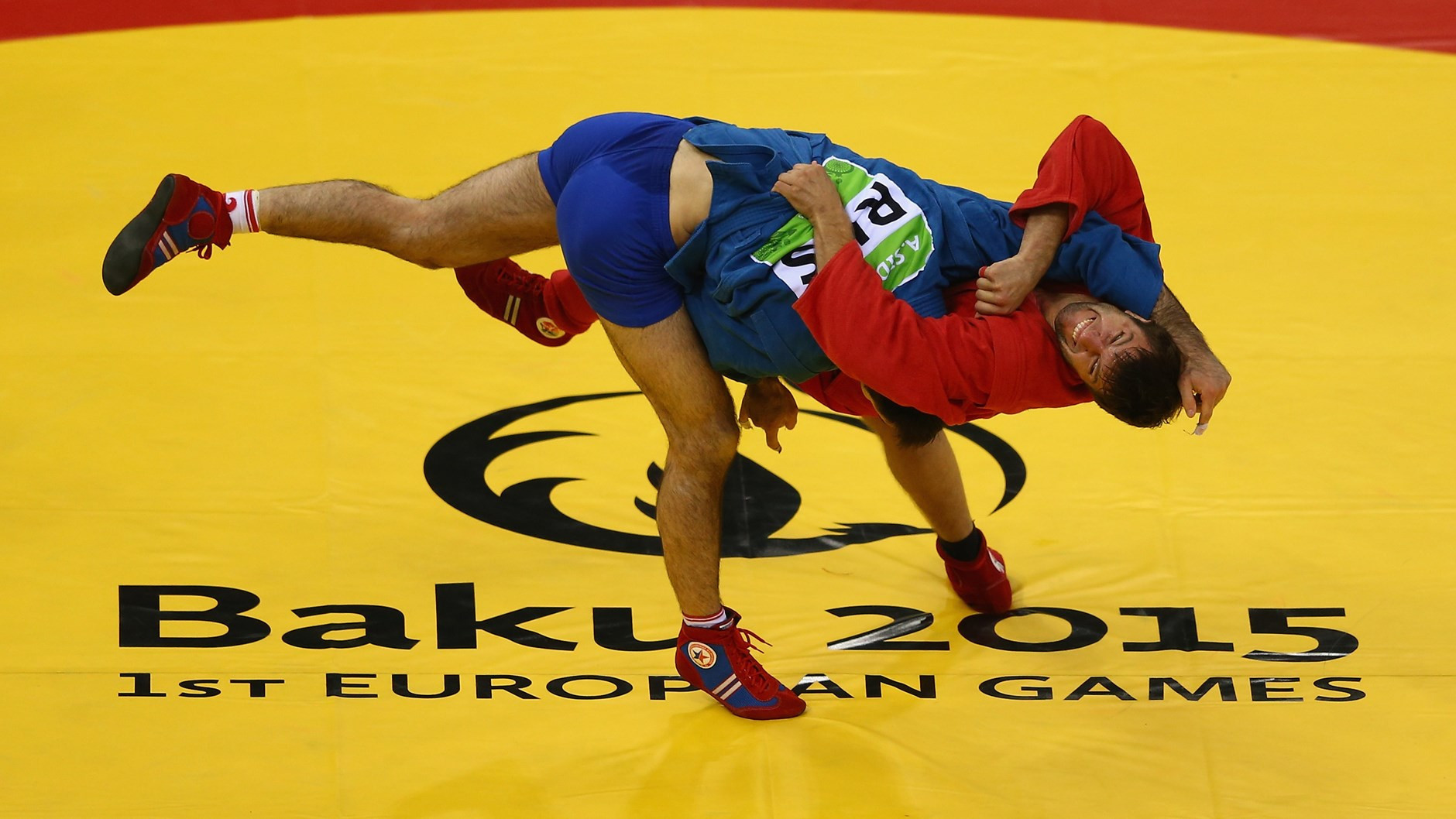 Stsiapan Papou, in red, won one of Belarus' two sambo gold medals at the 2015 European Games ©Getty Images