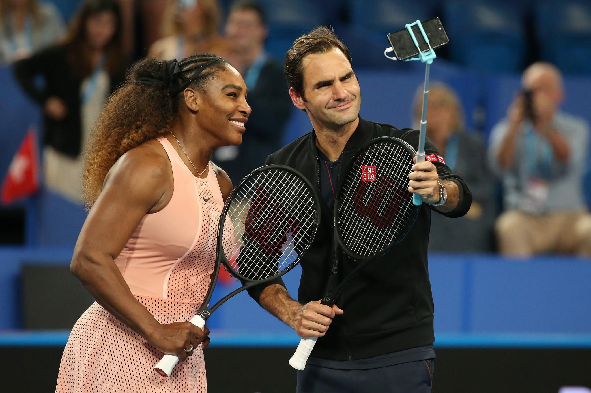 Roger Federer and Serena Williams played against each other for the first time today at the Hopman Cup in Perth ©Getty Images