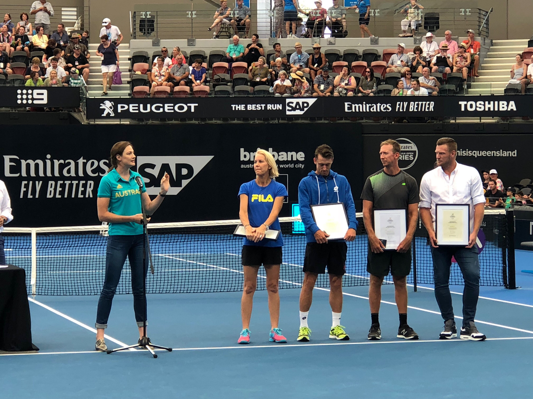 Four Australian tennis players have been recognised by the World Olympians Association during a ceremony at the Brisbane International ©AOC