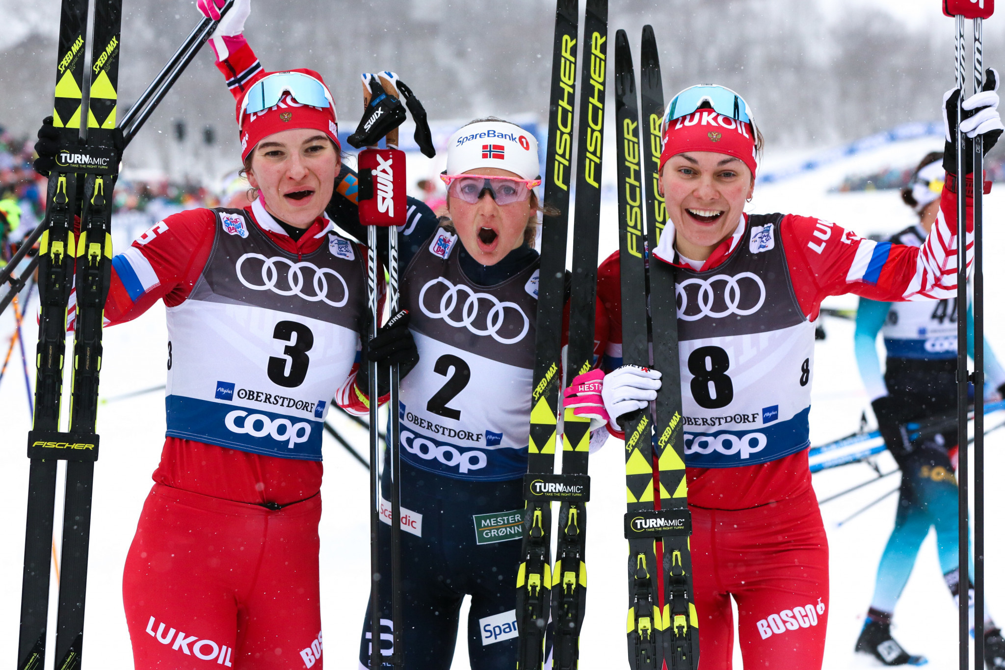 Ingvild Flugstad Østberg, centre, won the women's race in Oberstdorf to take the overall Tour de Ski lead ©Getty Images