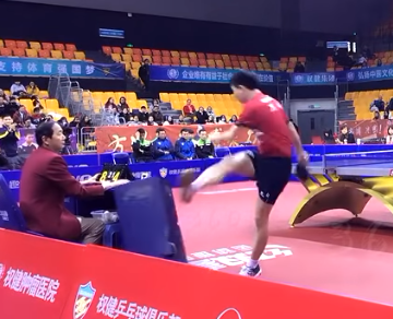 ITTF World Championship winner fined and banned for booting towel rack