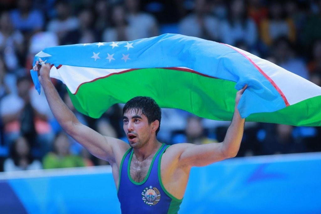 Bekzod Abdurakhmanov won Male Athlete of the Year for defending his Asian Games wrestling title ©UWW