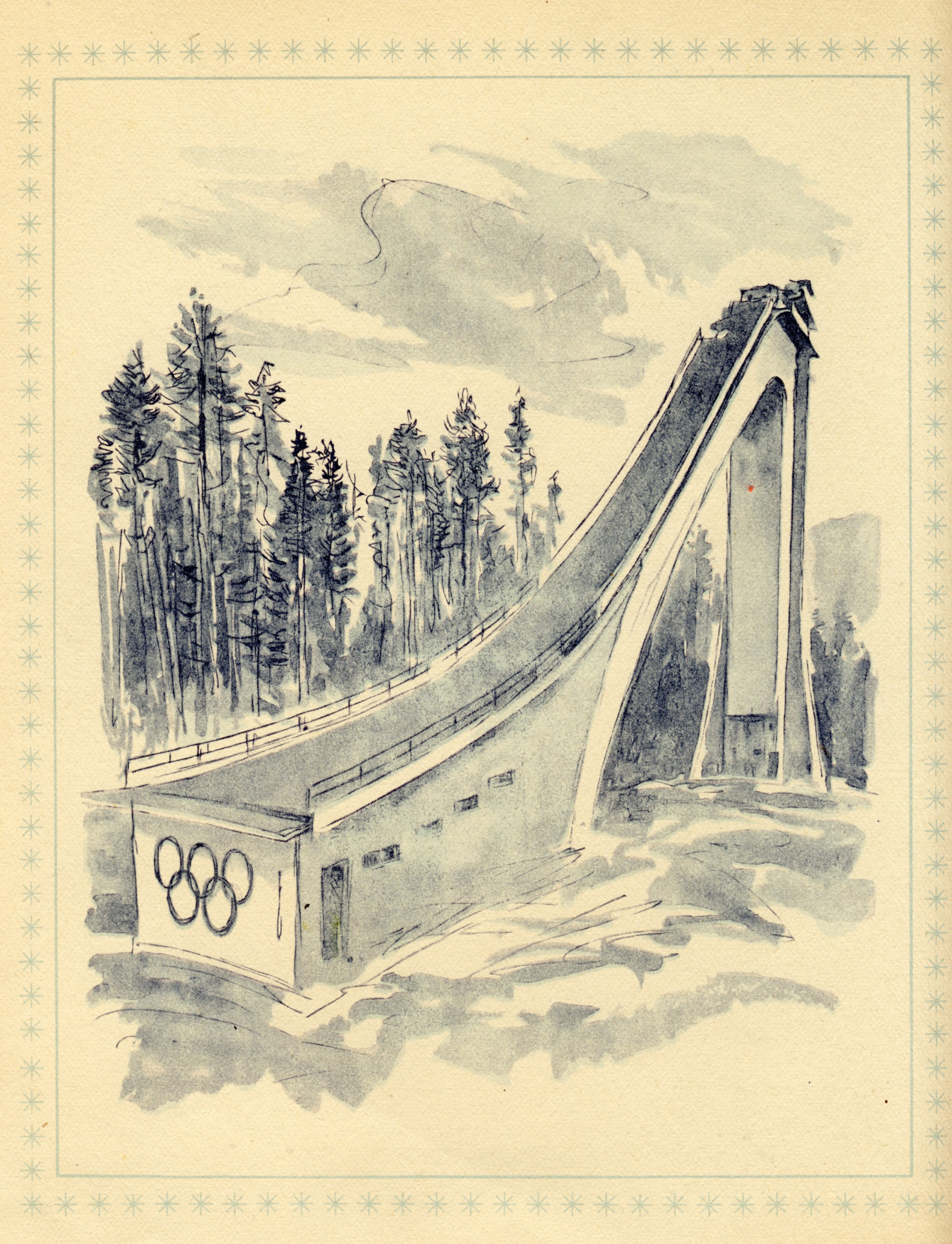 A drawing of the ski jump at the 1956 Winter Olympics in Cortina ©Philip Barker