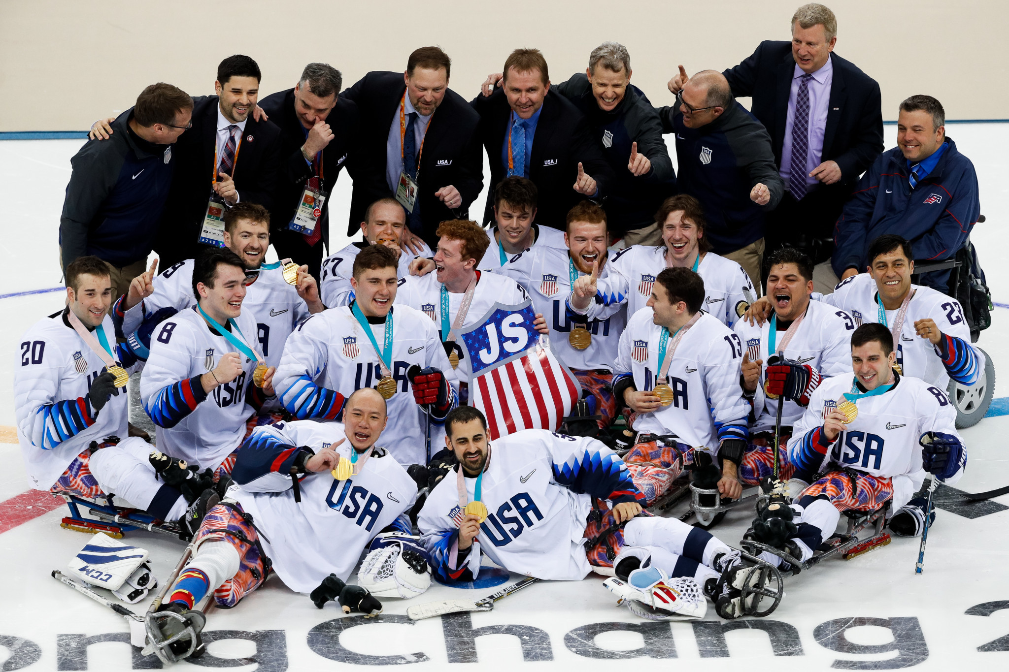 The United States ice hockey team celebrate beating Canada in the final of the Pyeongchang 2018 Winter Olympics, a moment which has been named the best of 2018 by the IPC ©Getty Images